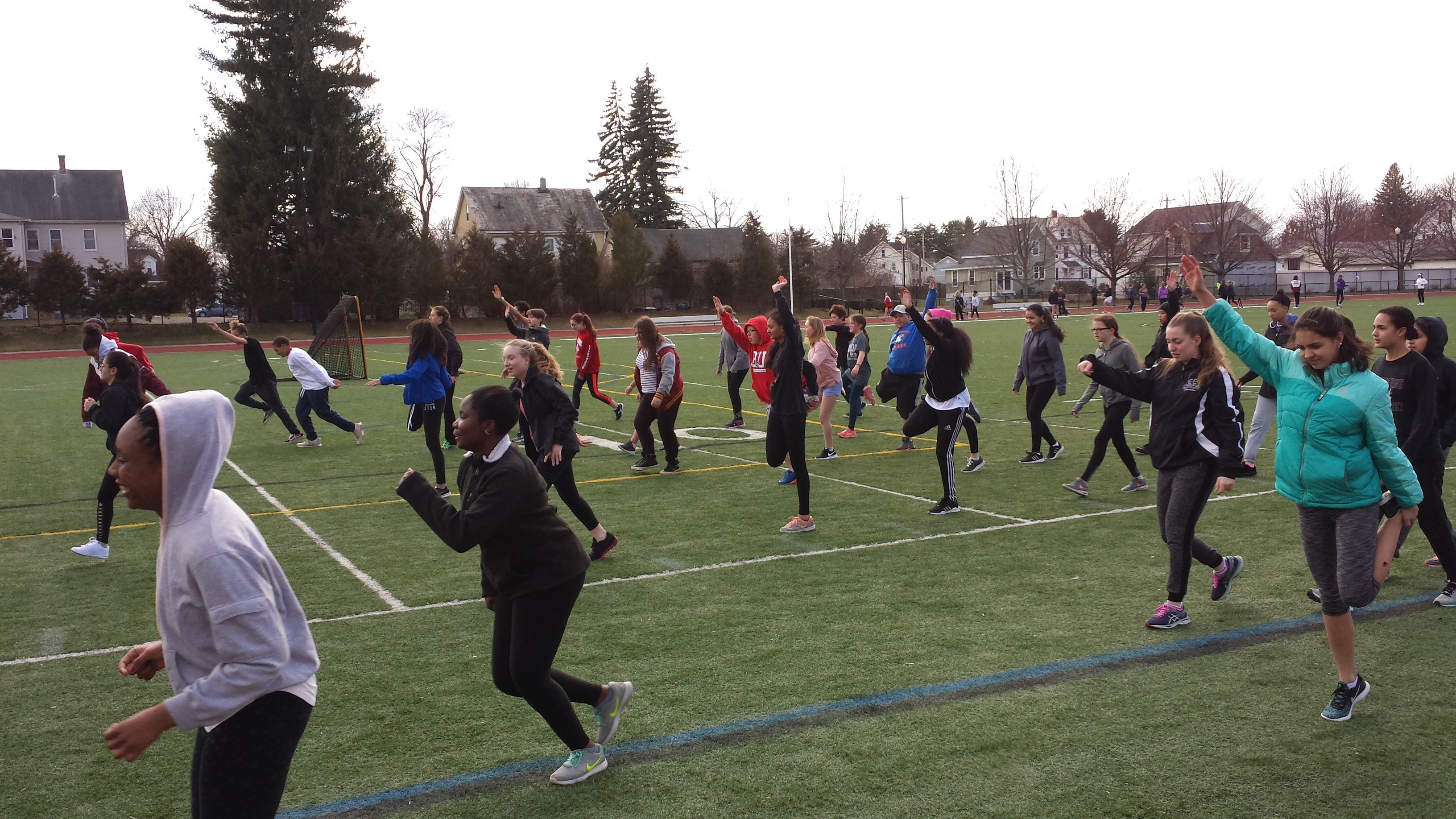 Dupont Students Practice With The CHS Girls Track Team