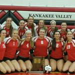 Kankakee Valley High School Girls Varsity Volleyball beat Griffith High School 3-0
