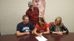 hannah signing with parents and coach