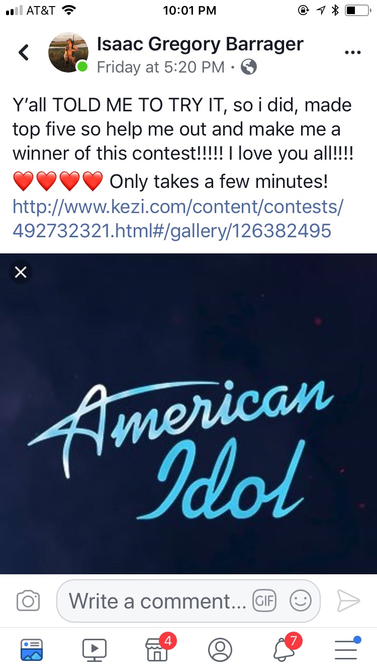 Vote for Isaac for American Idol