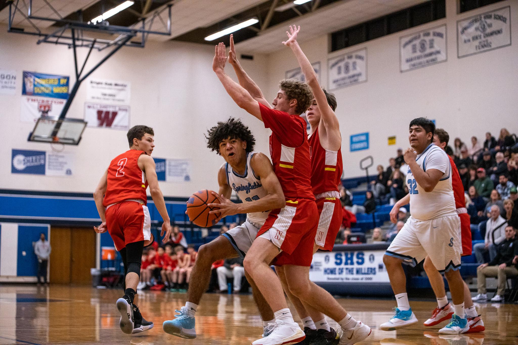 Boys Varsity Basketball beats North Eugene 58 – 55