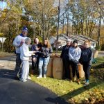 Softball Volunteers bag 30 bags of leaves for Mrs. Kosher