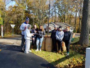 Softball Volunteers Bag 30 Bags of leaves for Mrs Kosher