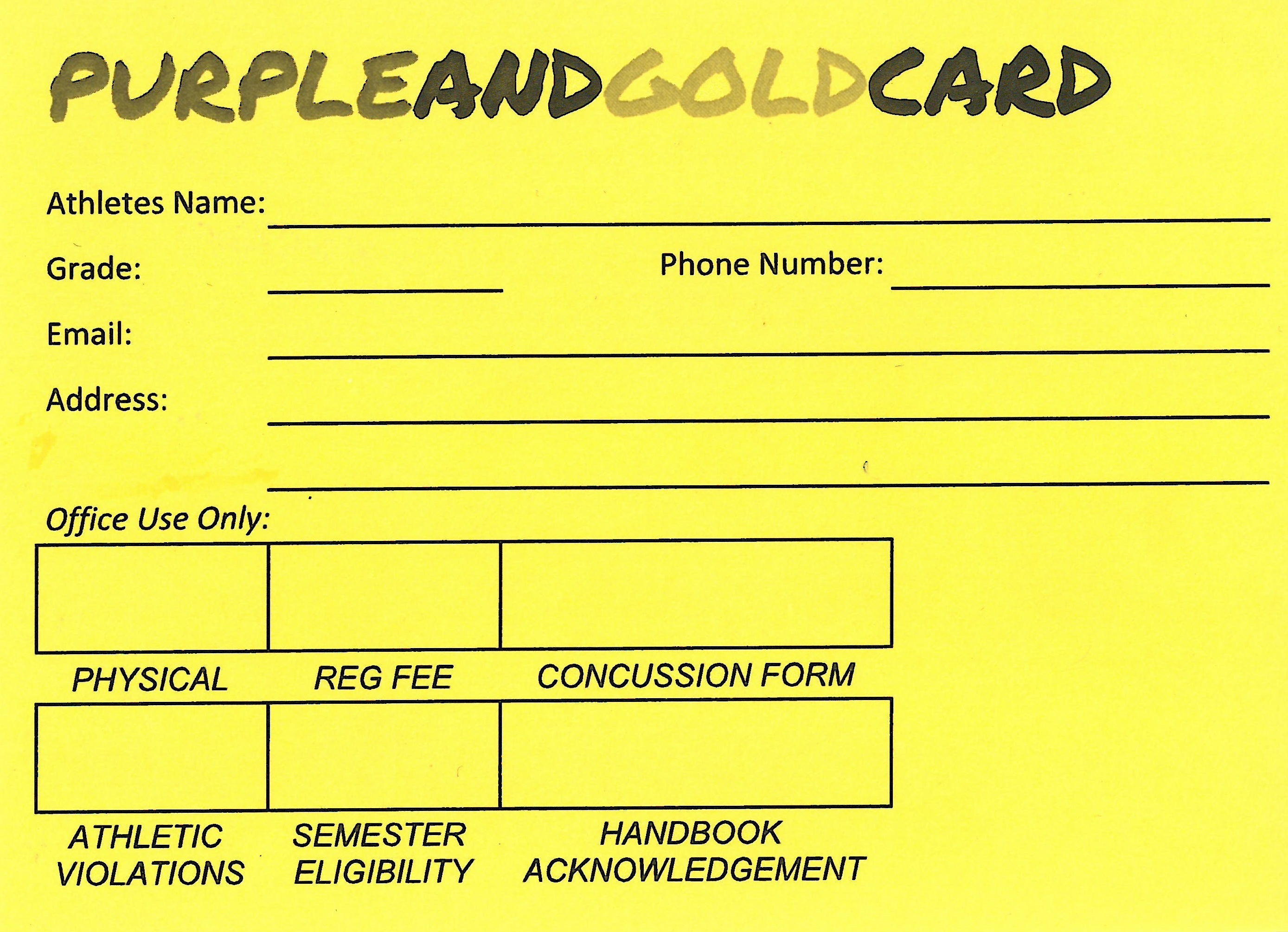 Spring Sports: Purple and Gold Card Required