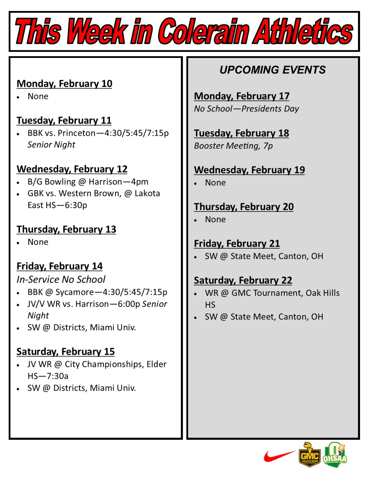 Weekly Schedule for Colerain Athletics – Feb. 10