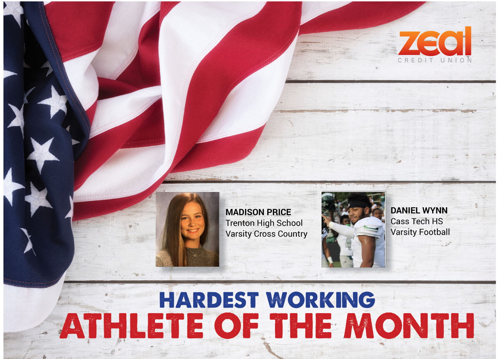 The Zeal Credit Union Athlete of the Month is….