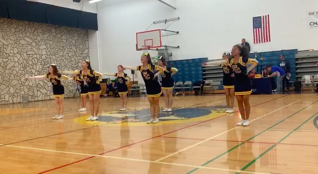 Cheer performs at half time of South- West Cup