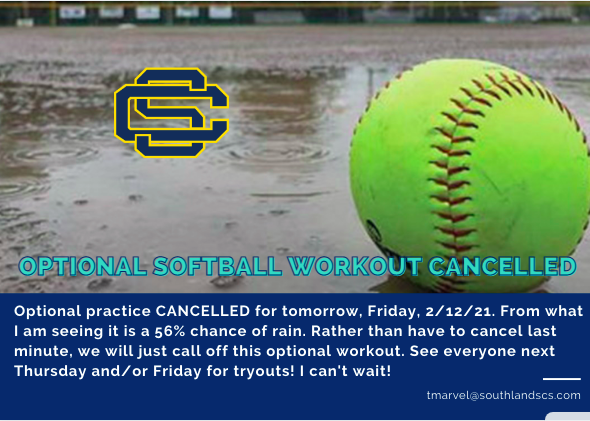 With rain in the forecast, Softball Workout Canceled…