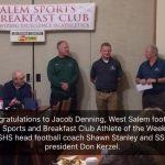 Jacob Denning Salem Sports & Breakfast Club Athlete of the Week