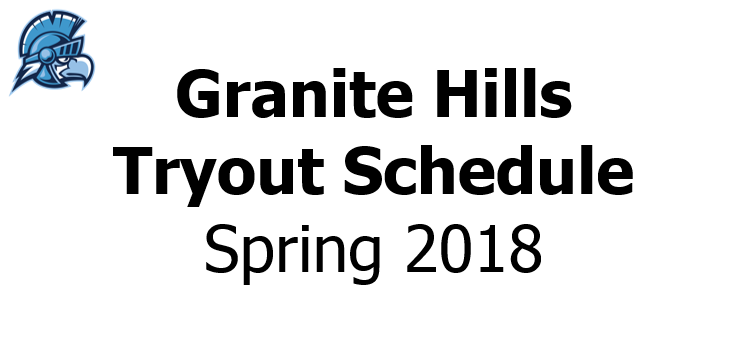 Spring 2018 Tryout Schedule