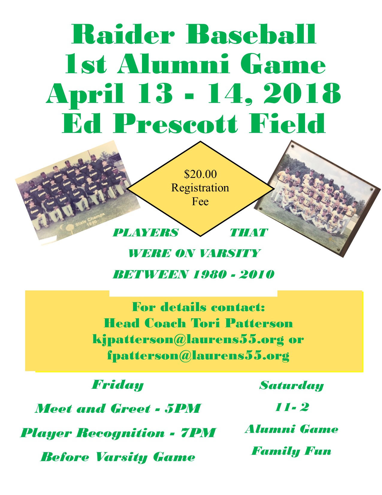 Sign Up for Raider Baseball Alumni Game