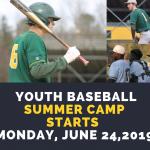 Youth Baseball Camp Starts Monday, June 24, 2019