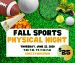 "LDHS to host ""Fall Sports Physical Night"" Thursday, June 25, 2020"