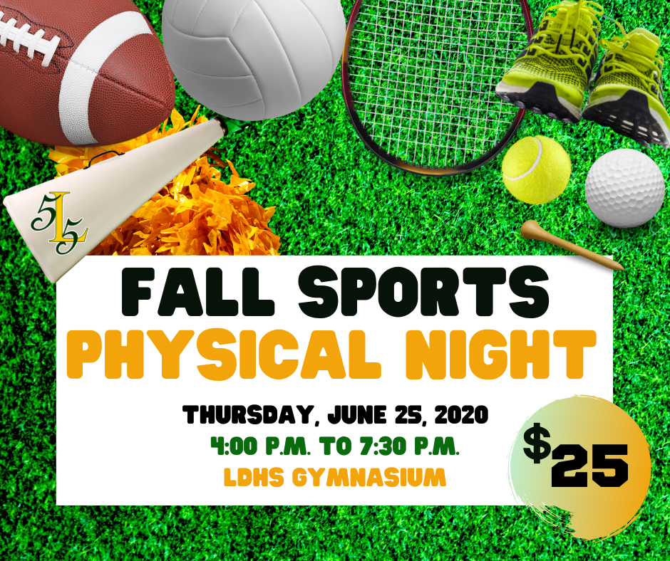 """LDHS to host """"Fall Sports Physical Night"""" Thursday, June 25, 2020"""
