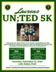 Laurens Un;ted 5K Saturday, November 21,2020 at 9:00 a.m.