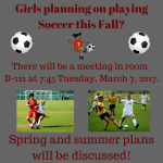 Soccer Meeting 3-7-2017 at 7:45 in B-121 at MVHS