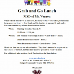 """Grab & Go Lunch"" for students 18 and under starting Monday, March 30, 2020!"