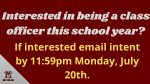 2020 – 2021 MVHS Class Officer Information!