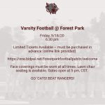 Tickets for Varsity Football @ Forest Park, 9/18 – 6:30 pm