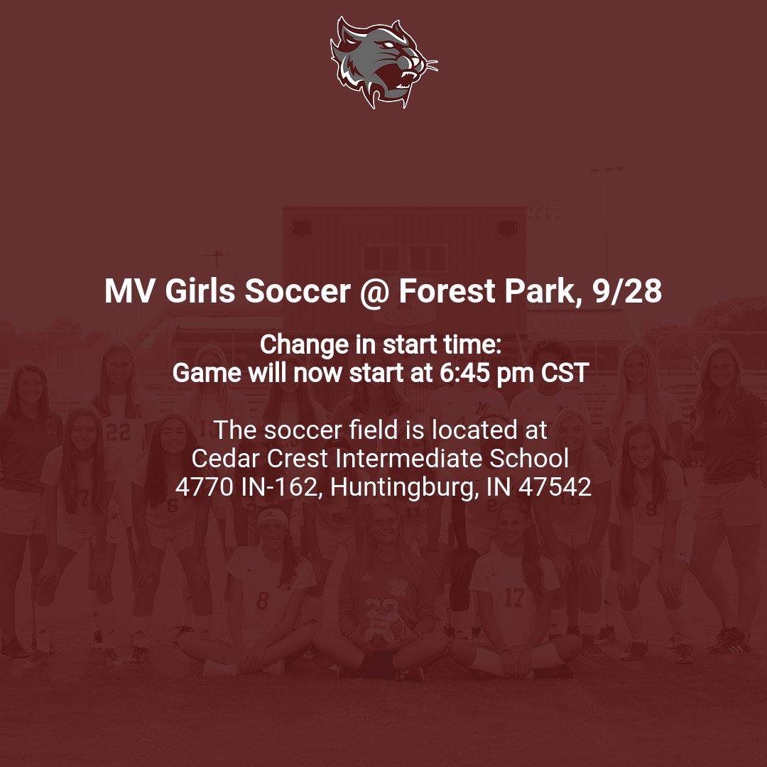 Mt. Vernon Girls Soccer vs Forest Park: New Start Time on 9/28!