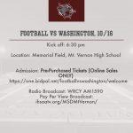 Football Ticket Information for Friday, 10/16