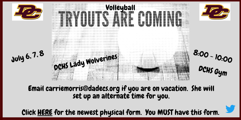 DCHS Lady Wolverines Volleyball Holding Tryouts July 6-8….Read More