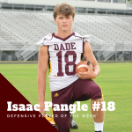 Isaac Pangle Selected as Defensive Player of the Week