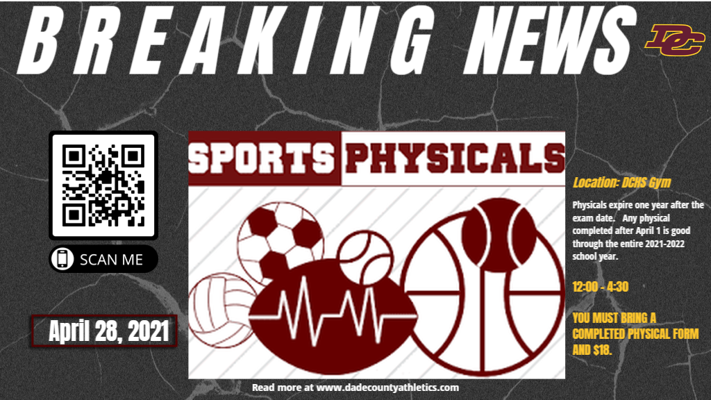 Sports Physicals Wednesday April 28, 2021 at DCHS