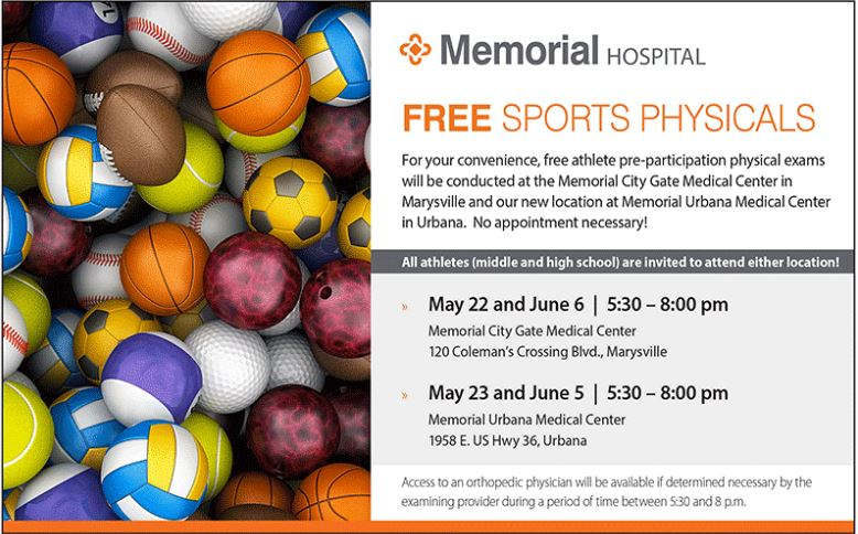 Free Sports Physicals 5/22, 5/23, 6/5, 6/6