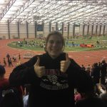 Haley Cook competes in LJ/TJ at Indoor State Championships