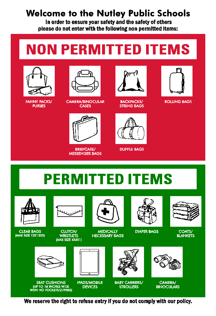 Permitted and Non Permitted Items Reminder