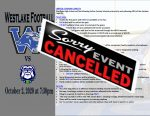 Friday 10/2/20 Football Game Cancelled