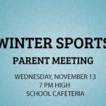 Winter Sports Parents Meeting – Wednesday, November 13 at 7 pm