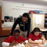 Giants visit Kendall Elementary