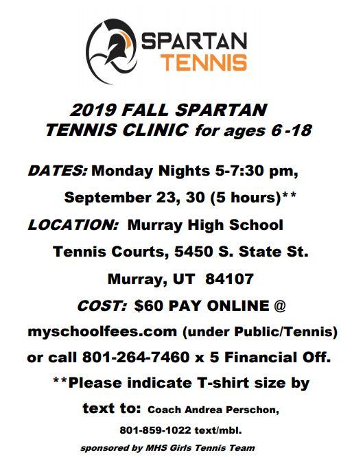 Spartan Tennis Fall Clinic