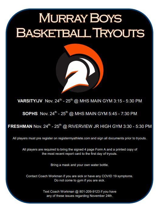 Boys Basketball Tryouts–Nov. 24-25