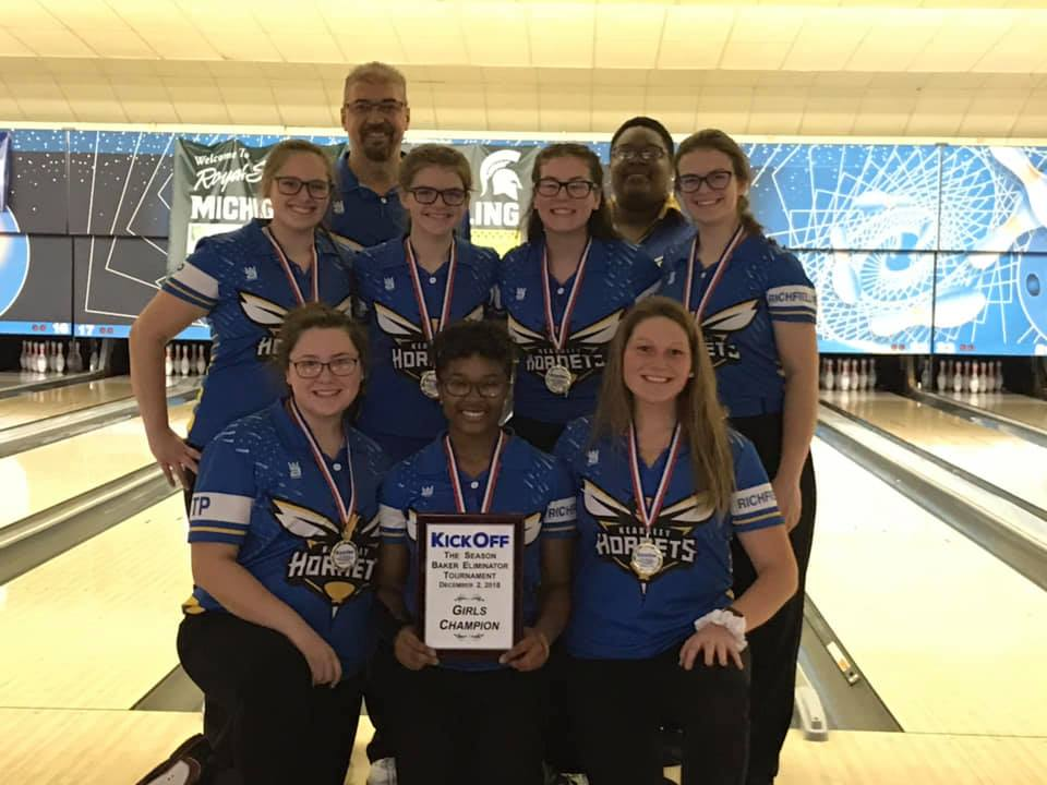 Girls Varsity Bowling finishes 1st place at Baker Eliminator Tournament in Lansing
