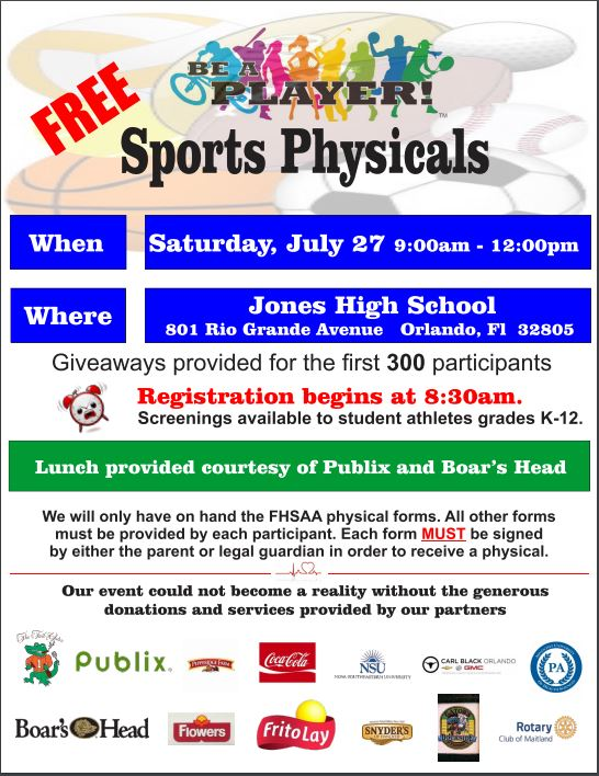 Free Physicals – Saturday, July 27th at Jones High School