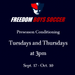 Soccer Conditioning Tuesdays and Thursdays (Now until Oct. 10th)
