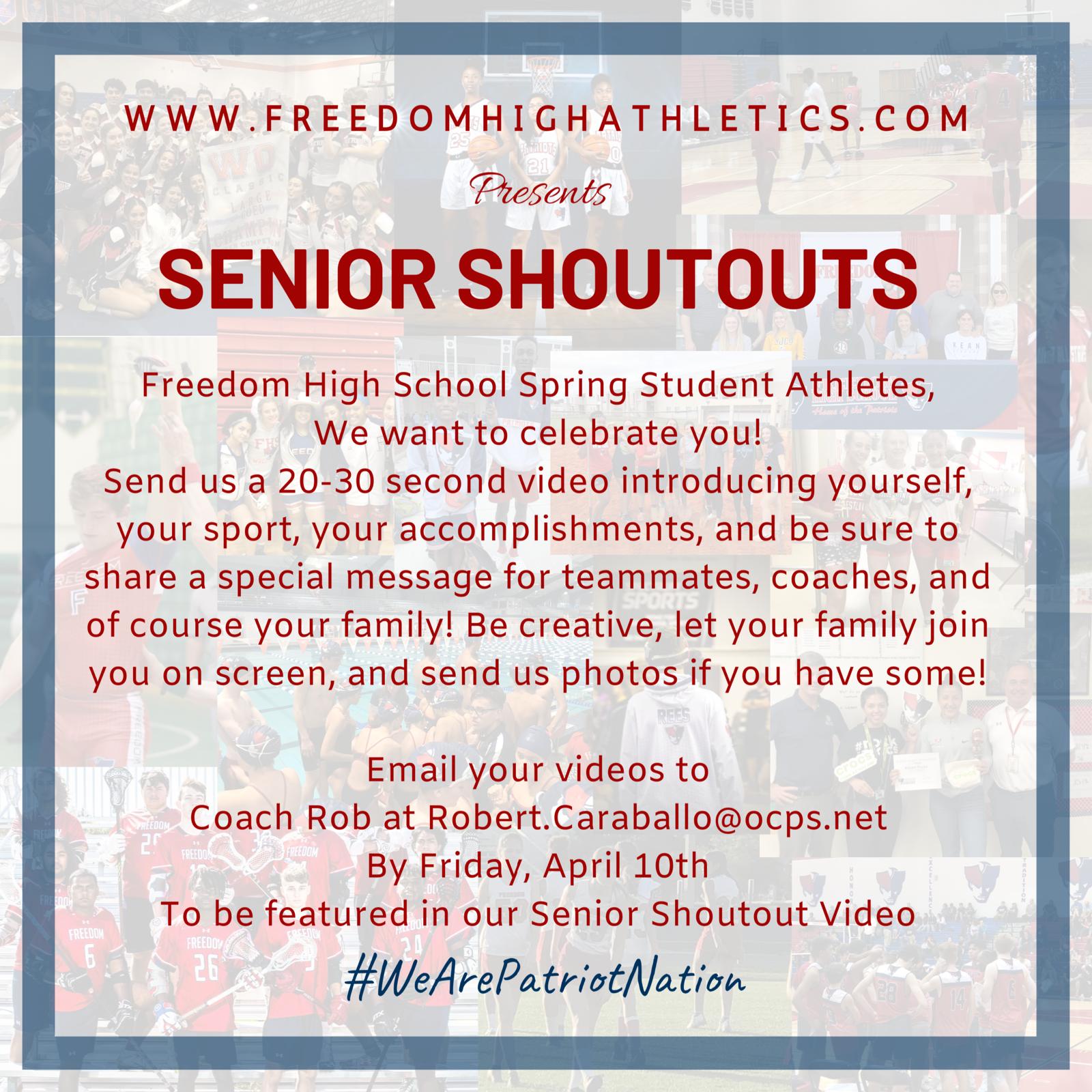 Senior Shoutouts: Seniors Submit Your Videos Today!