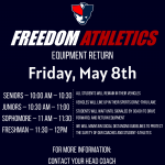 Sports Equipment Return – This Friday, May 8th