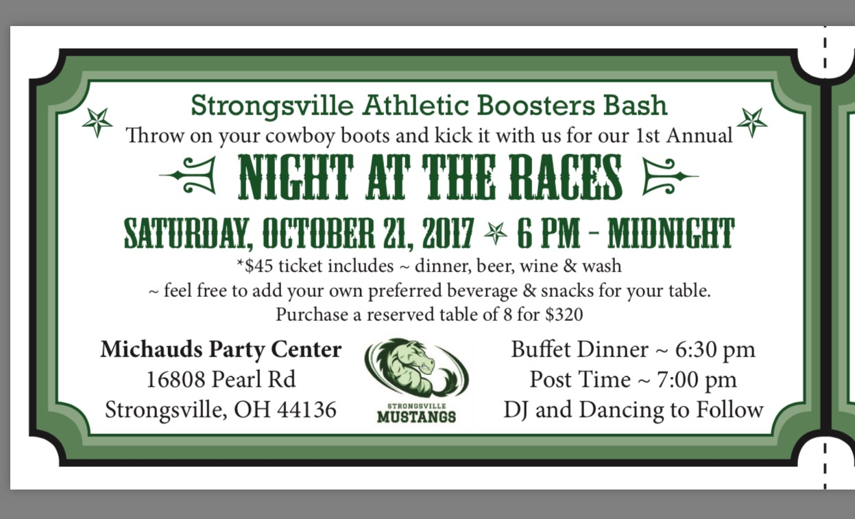 """Booster Club """"Night at the Races"""" – October 21st"""