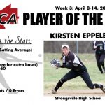JUNIOR SOFTBALL PLAYER RECOGNIZED BY CCSCA