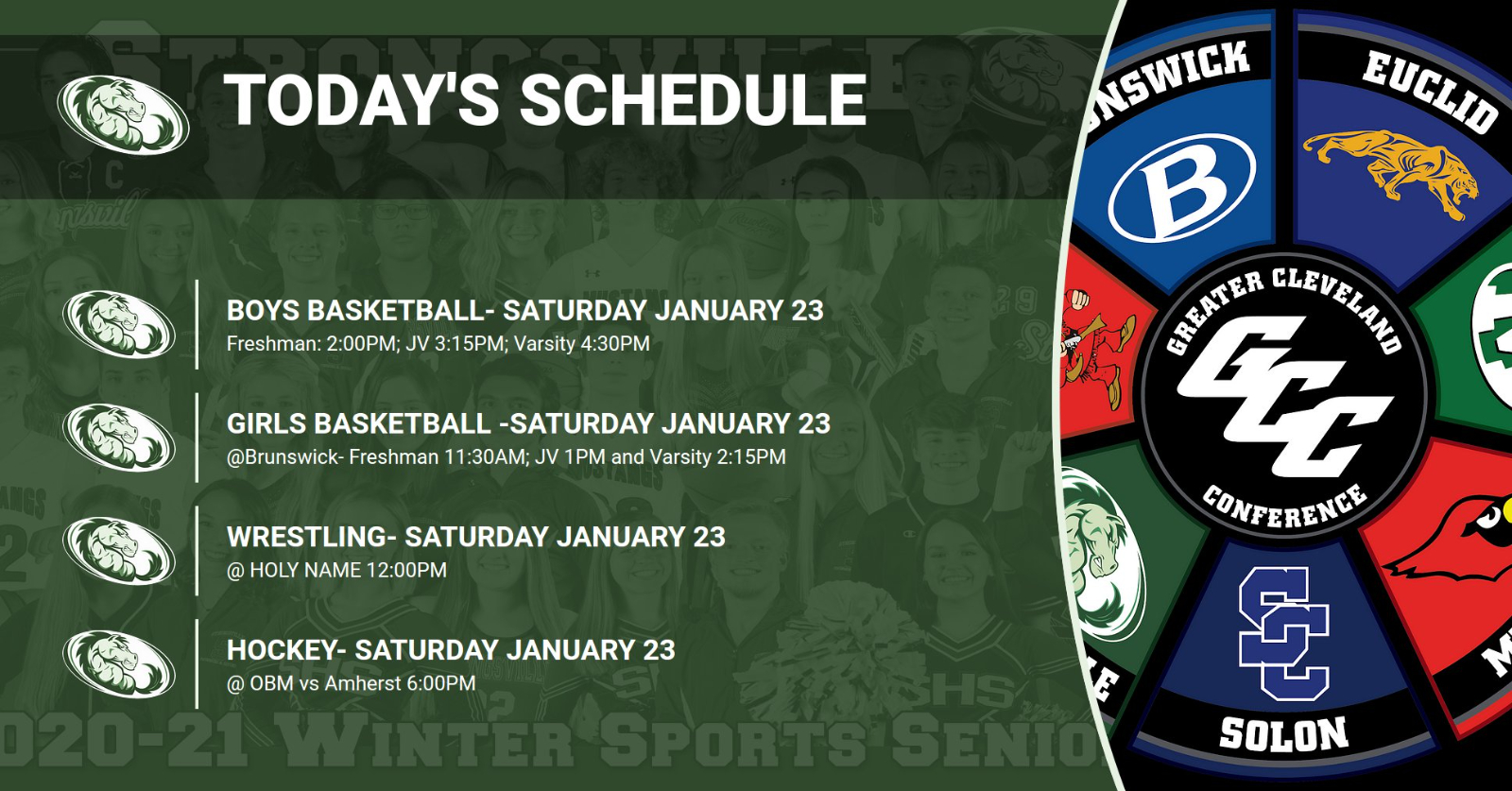 Saturday January 23, 2021 schedule