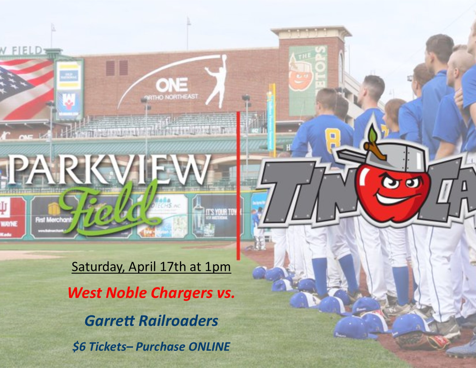 West Noble Baseball is Playing at Parkview Field on 4/17