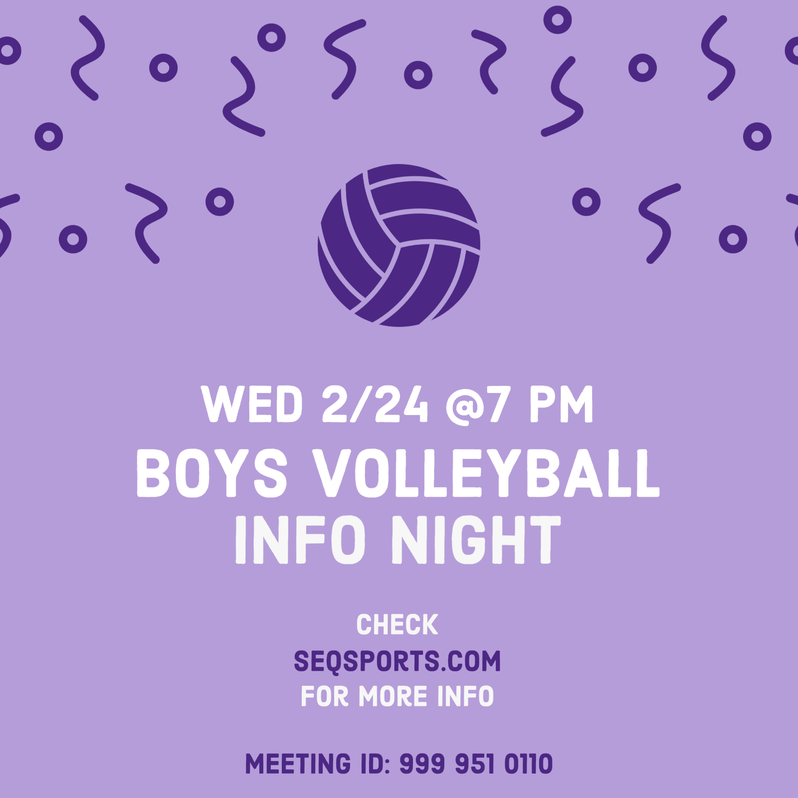 Boys Volleyball Info Meeting Wednesday 2/24 at 7pm