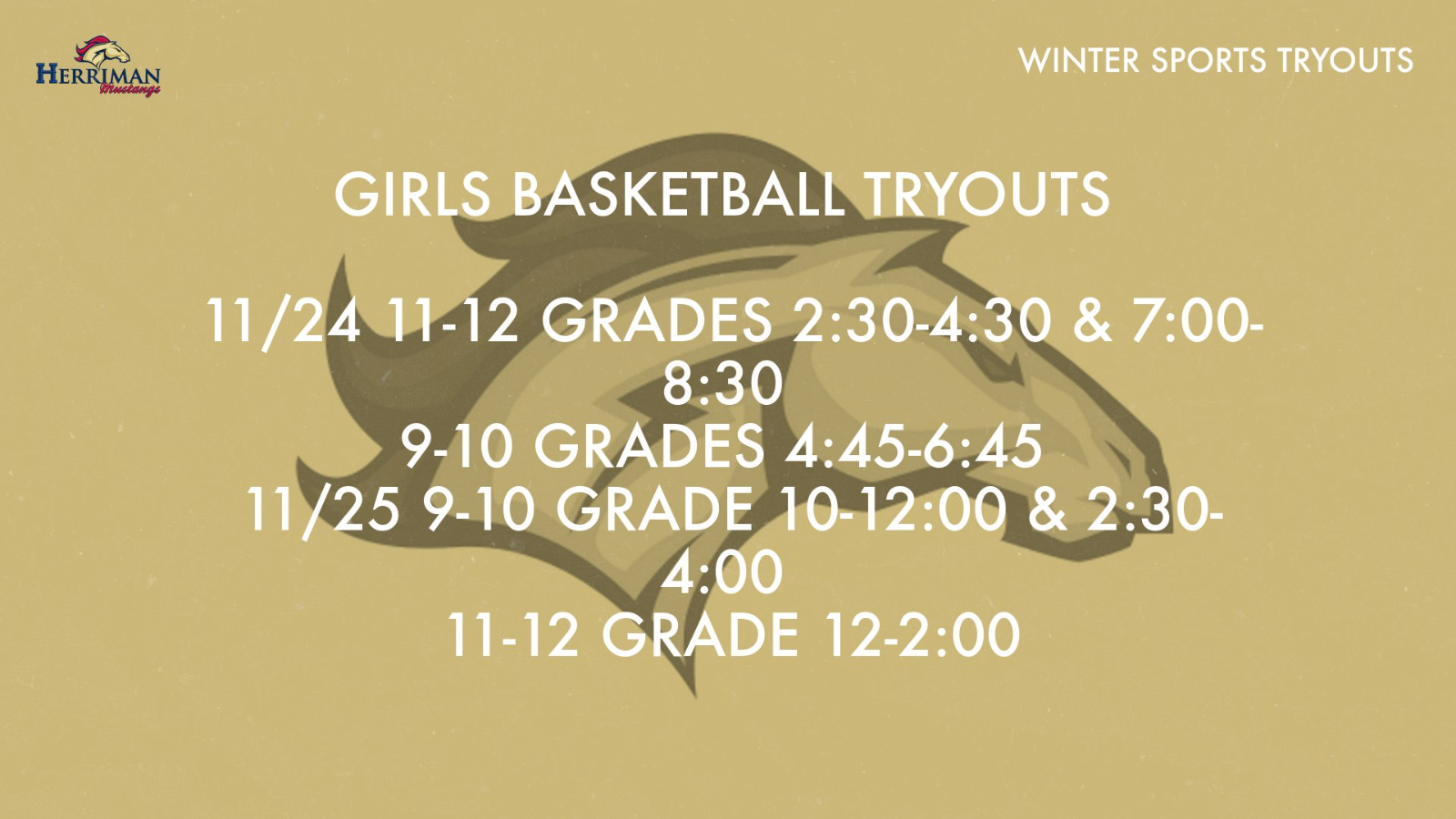 GIRLS BASKETBALL TRYOUT IN SMALL GYM STARTING 11/24