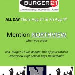 EAT AT BURGER 21 TODAY / TOMORROW