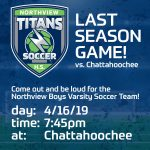 Support the Boys Varsity Soccer Team tomorrow at their game against Chattahoochee!
