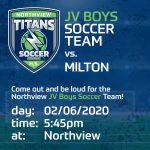Junior Varsity Soccer Boys Opening Game TIME UPDATE